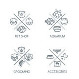 Set of pet shop outline logo, emblem or label design elements. Vector line icons. Goods and accessories for animals. Design concept for veterinary, pets care Stock Image