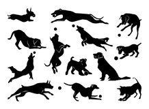 Set of pet silhouettes. Dogs with ball. Vector illustration stock illustration