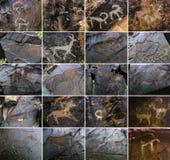 Set of Petroglyphs on the stone in Tambaly, Kazakhstan Stock Photo
