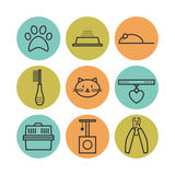 Set of pets flat icons, cat symbols Royalty Free Stock Photos