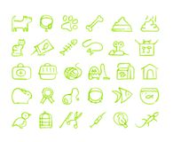 Pets icon set. Set of 30 pets hand drawn green icons drawn with a felt-tip pen Royalty Free Stock Images