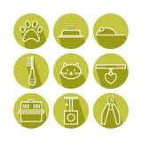 Set of pets icons, cat symbols Stock Image