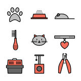 Set of pets icons, cat symbols Stock Images