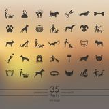 Set of pets icons. Pets modern icons for mobile interface on blurred background stock illustration