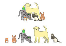 Set of pets illustration. In a row and a group Royalty Free Stock Photo