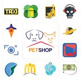 Set of petshop, money back guarantee, neurosurgery, banque, trading co, mobile silent, camera, gryphon, travel icons. Set Of 13 simple  icons such as petshop Royalty Free Stock Photo