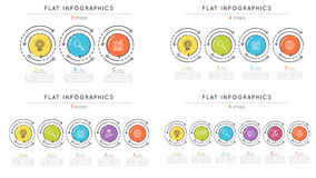 Set pf flat style 3-6 steps timeline infographic templates. Royalty Free Stock Photos