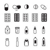 Set of Pharmaceutical Icons. Pills capsules and bottles symbol of pharmaceutical Royalty Free Stock Image