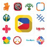 Set of philippine flag, pharma company, fiber optic, non smoking, autism, bomb squad, plus size, triple x, boy scout icons. Set Of 13 simple  icons such as Royalty Free Stock Photography