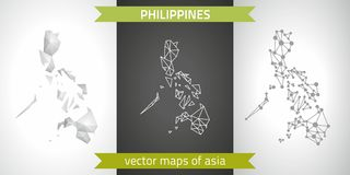 Philippines collection of vector design modern maps, gray and black and silver dot contour mosaic 3d map. Set of Philippines polygonal mosaic modern maps stock illustration