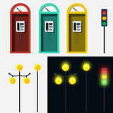 Set of phone booth lamp and traffic light Royalty Free Stock Photos