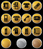Set of Phone Buttons - gold round. Set of 12 styles of phone buttons - gold round style Royalty Free Stock Photos