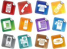 Set of Phone Buttons - sticker Stock Images