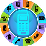 Set of Phone Buttons - wheel. Set of 12 styles of phone buttons - wheel style Stock Image