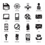 Set of Phone call, Music player, Microphone, Pendrive, Smartphone, Film reel, Laptop, Satellite, Diskette icons. Set Of 16 simple  icons such as Phone call Royalty Free Stock Photos