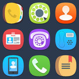 Set of phone and contacts mobile icons in flat Stock Images