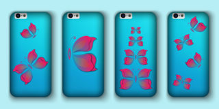 Set of phone covers with 3d paper colorful butterfly. Royalty Free Stock Image