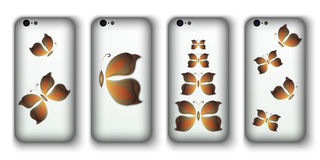 Set of phone covers with 3d paper colorful butterfly. Stock Photography