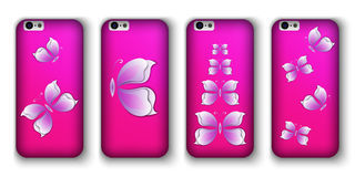 Set of phone covers with 3d paper colorful butterfly. Stock Photo