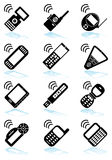 Set of Phone Icons - black and white. Set of 12 styles of phone icons - black and white stock illustration