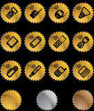 Set of Phone Icons - Seal. Set of 12 styles of phone icons - gold button style stock illustration
