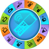 Set of Phone Icons - Wheel. Set of 12 styles of phone icons - wheel Royalty Free Stock Photos