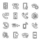 Set of 25 phone thin line icons. High quality pictograms of mobile. Modern outline style icons collection. Telephone, smartphone, cellphone, message, etc Stock Photos