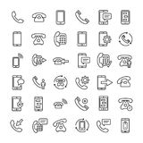 Set of 36 phone thin line icons. High quality pictograms of mobile. Modern outline style icons collection. Telephone, smartphone, cellphone, message, etc Royalty Free Stock Image