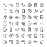 Set of 16 phone thin line icons. High quality pictograms of mobile. Modern outline style icons collection. Telephone, smartphone, cellphone, message, etc Royalty Free Stock Photography