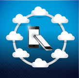 Set of phones cloud computing network diagram Stock Photo