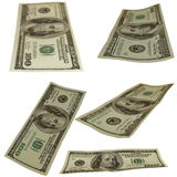 Set photo $100 dollar bills isolated on white Royalty Free Stock Images