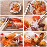 Set of photo asian seafood soup close-up Royalty Free Stock Image
