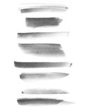 Set photo black watercolor hand painted brush strokes isolated on white Royalty Free Stock Photos