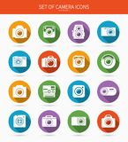 Set of photo or camera icons with long shadows Royalty Free Stock Photo