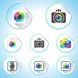Set of Photo Camera Sign Round Stickers. Set of Photo Camera Sign Icons. Round Stickers Stock Image