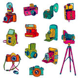 Set of Photo Cameras Royalty Free Stock Photo