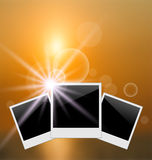 Set photo frame on blurred sunrise seascape Stock Image