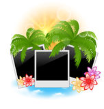 Set photo frame with palms, flowers, seascape back Stock Images