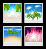 Set photo frames with beaches Stock Photo