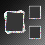 Set of photo frames with bright confetti Royalty Free Stock Photo