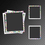 Set of photo frames with confetti Royalty Free Stock Images