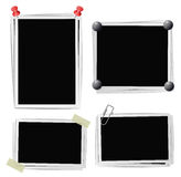 Set of photo frames with pins, pushpins, adhesive tape, clips Stock Photos
