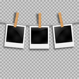 Set of photo frames on the rope with clothespin. Photo frames set on transparent Royalty Free Stock Photo