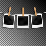 Set of photo frames on the rope with clothespin. Photo frames set on transparent Royalty Free Stock Image