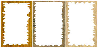 Set of photo frames with wooden texture Royalty Free Stock Photography