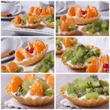 Set of photo fruit tartlets with kiwi and tangerine Royalty Free Stock Photo