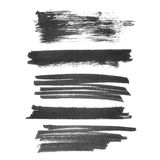 Set photo hand painted brush strokes ink isolated on white background Royalty Free Stock Images