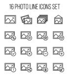 Set of photo icons in modern thin line style. Stock Photo