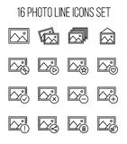 Set of photo icons in modern thin line style. High quality black outline images symbols for web site design and mobile apps. Simple photo pictograms on a white Royalty Free Stock Images