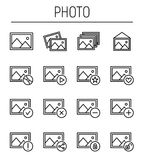 Set of photo icons in modern thin line style. High quality black outline images symbols for web site design and mobile apps. Simple photo pictograms on a white Stock Photos
